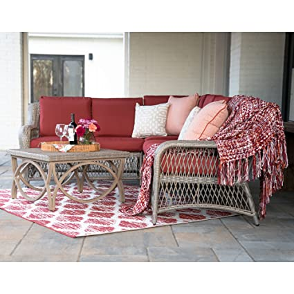 Charmant Leisure Made Birmingham 5 Piece Outdoor Sectional, Red Fabric