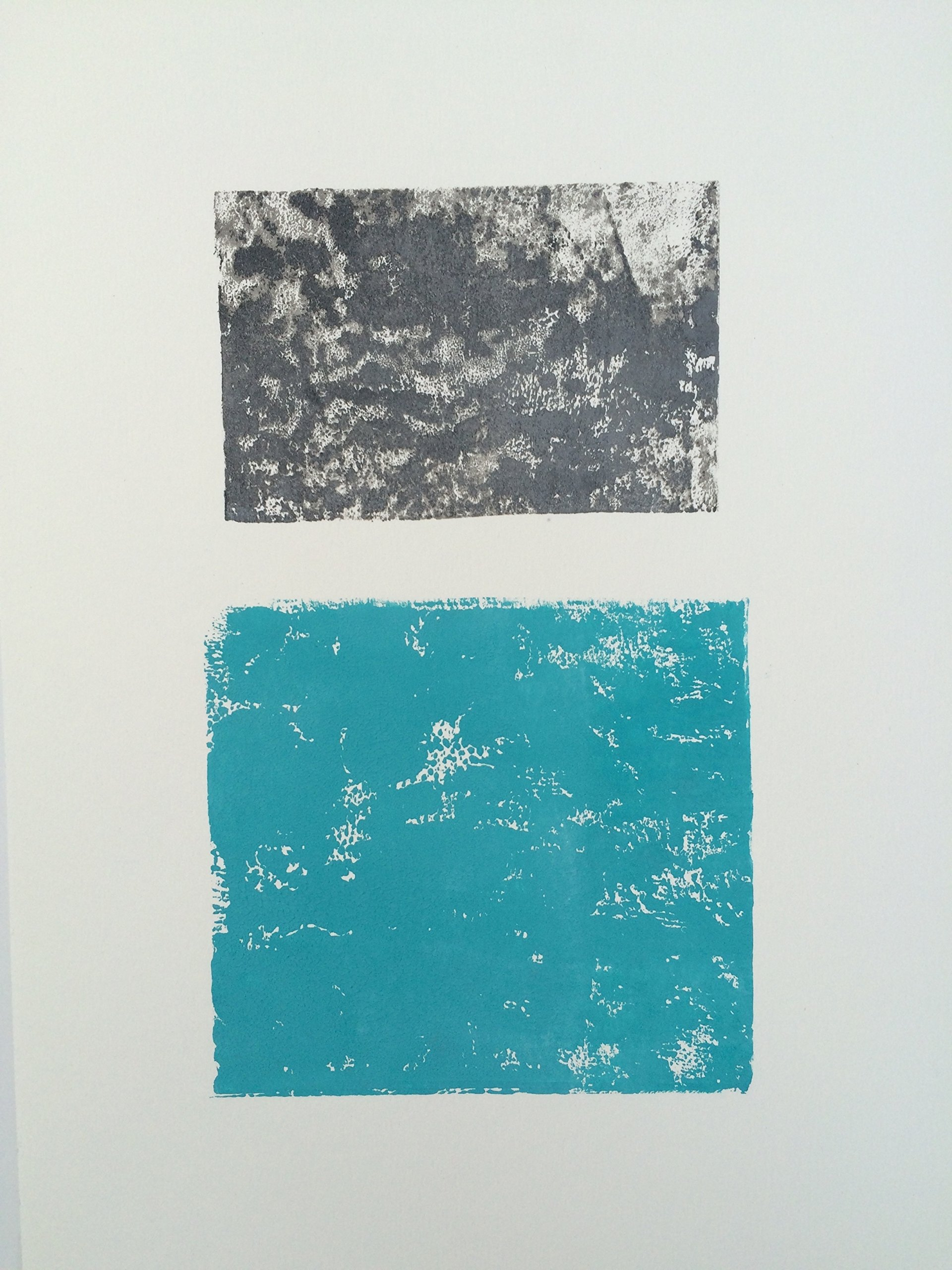 Teal and Grey modern abstract linocut 9x12 by
