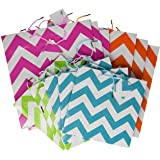 Gift Bag Assortment - 12 Assorted Size Bright Gift Bags (chevron)