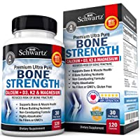 Bone Strength Supplement with Calcium + D3, K2 & Magnesium - Highly Absorbable Vitamin...