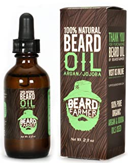 product image for Beard Oil by Beard Farmer - All Natural Conditioner for Beard Growth, Unscented Organic Argan Oil and Jojoba Oil 2 Oz.