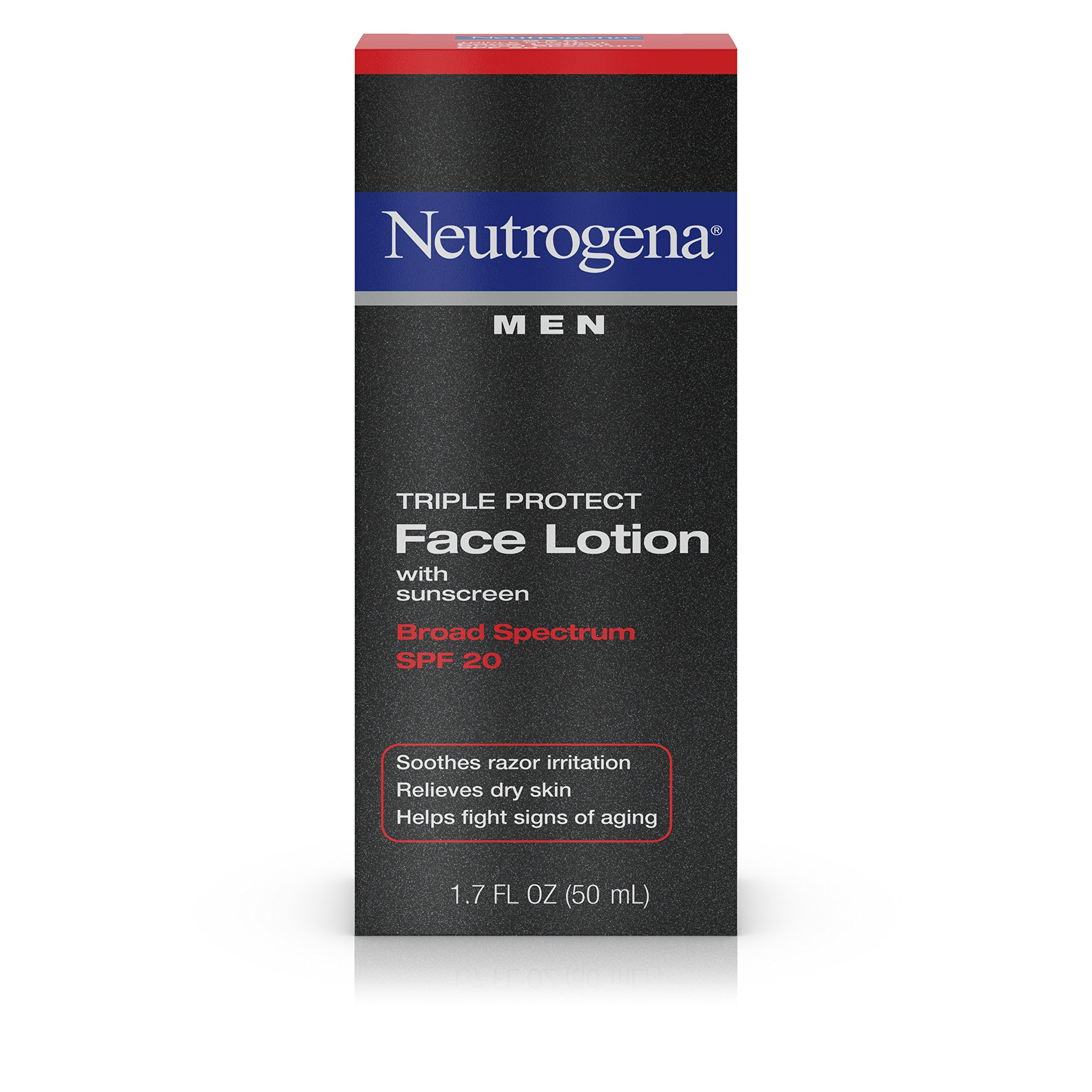 Neutrogena Triple Protect Men's Daily Face Lotion with Broad Spectrum SPF 20 Sunscreen, Moisturizer to Fight Aging Signs, Soothe Razor Irritation & Relieve Dry Skin, 1.7 fl. oz (Pack of 2)