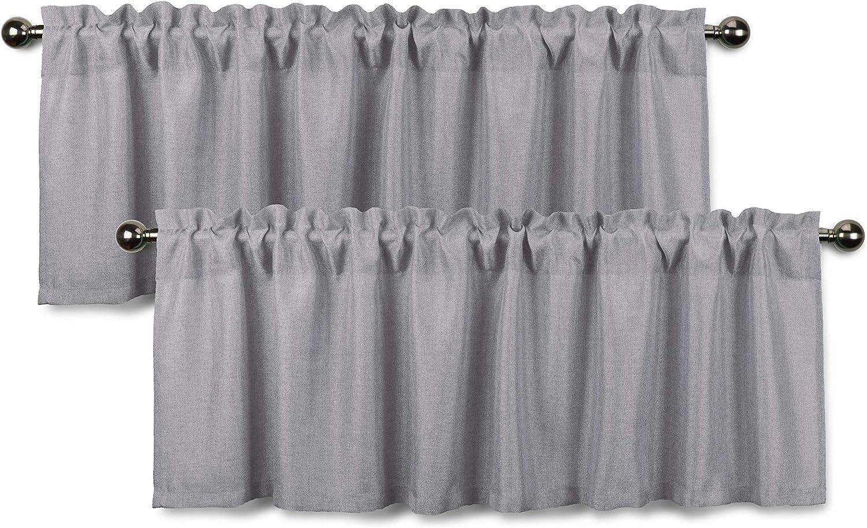 Aiking Home Rod Pocket Faux Linen Textured Semi-Sheer Window Curtain Valances (Set of 2, 56
