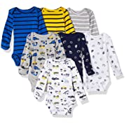 Carter's Baby 7 Pack Long Sleeve Bodysuits, construction/sports, 24 Months