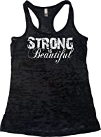 Orange Arrow Womens Workout Clothes - Strong Is Beautiful - Tank Top With Saying