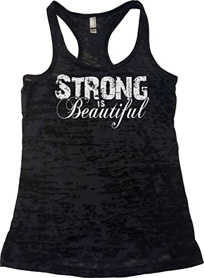 d8e36f95da9ff7 Amazon.com  Orange Arrow Womens Workout Tank Tops - Strong is Beautiful -  Tanks with Saying Pink  Clothing