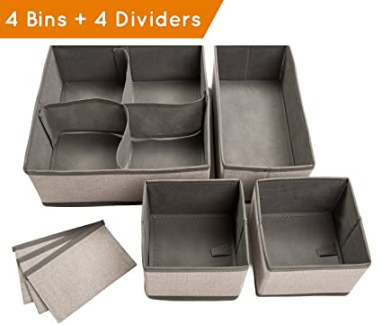 Set Of 4 Organizer Bins With Dividers For Closet Dresser Drawer Inserts  Bathroom Dorm Or Baby