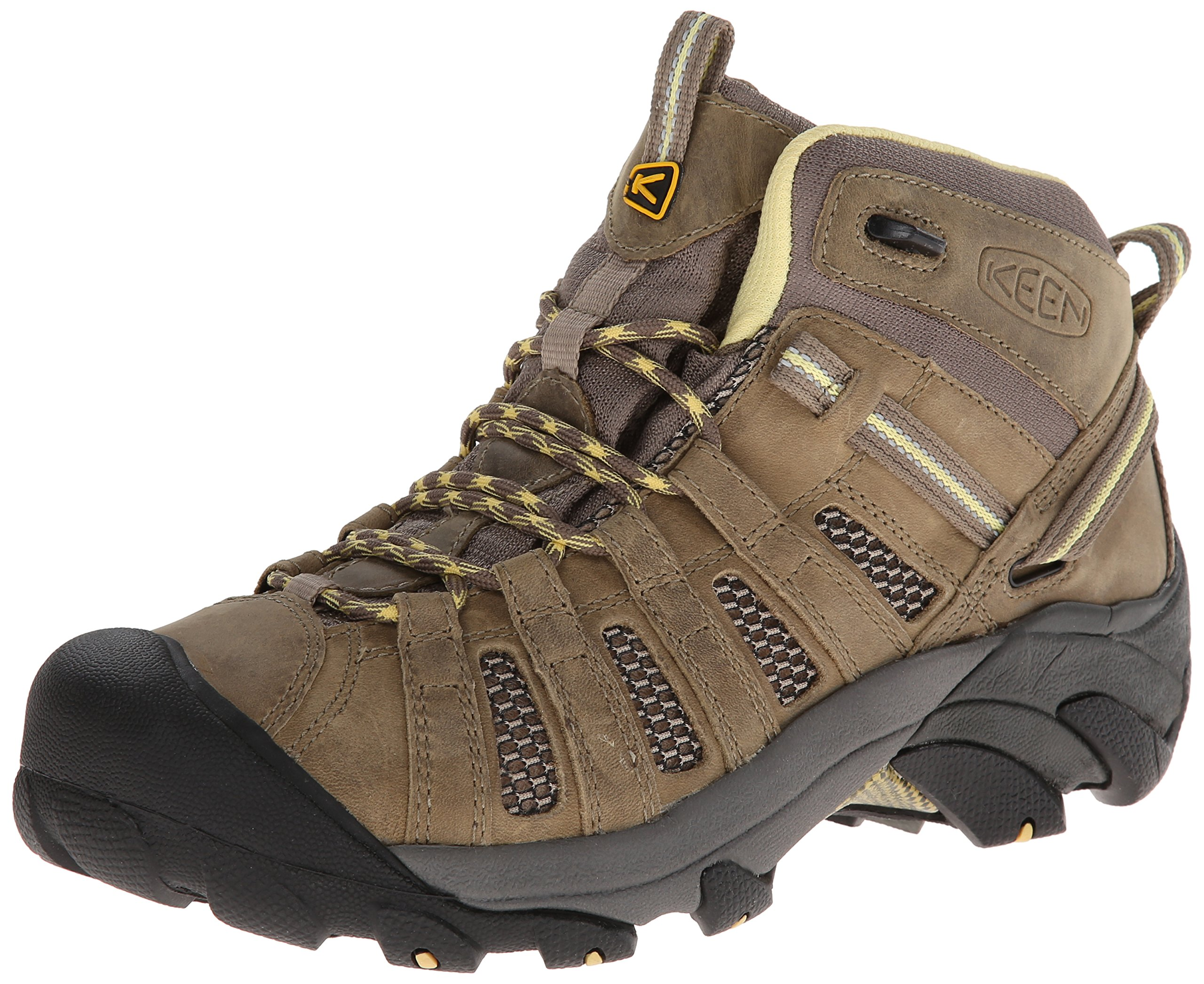 KEEN Women's Voyageur Mid Hiking Boot, Brindle/Custard, 8.5 M US