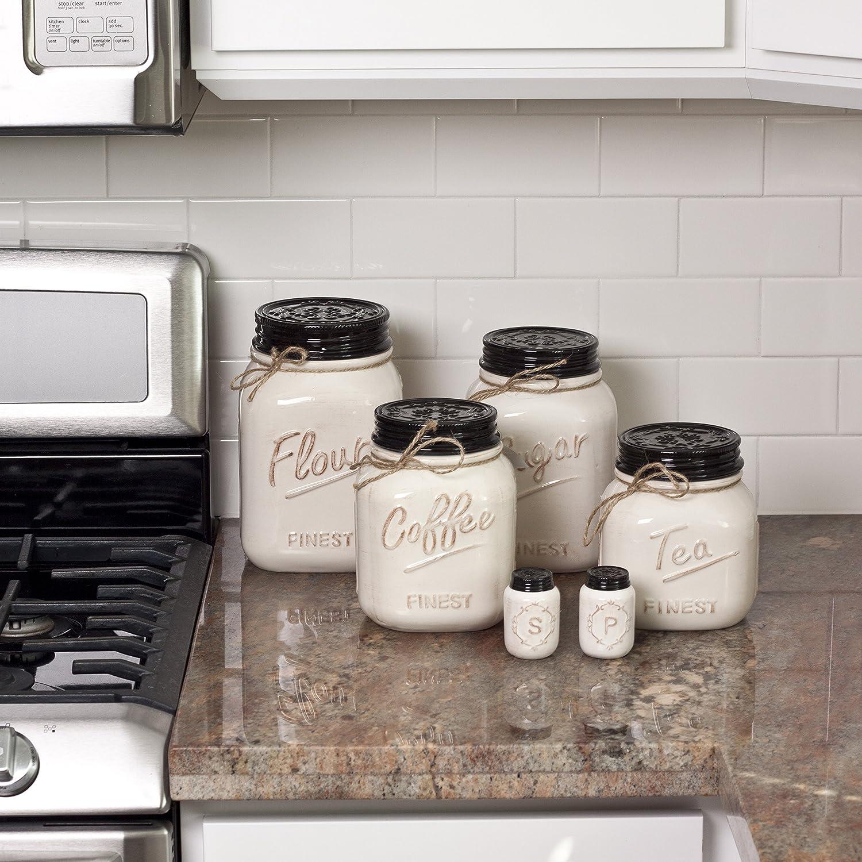 Elegant black and white kitchen canisters taste for Kitchen set amazon
