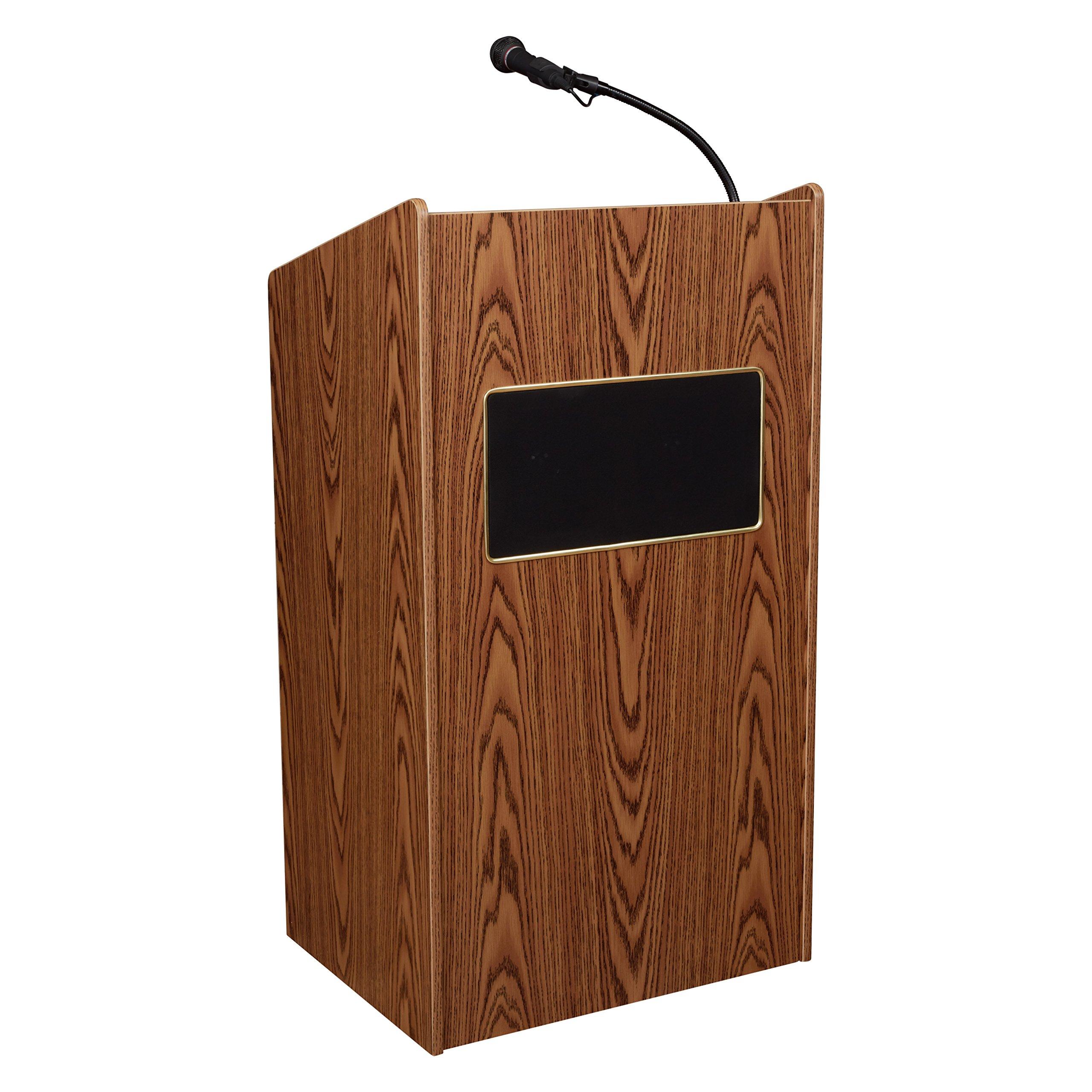 Oklahoma Sound 6010-MO Aristocrat Floor Sound Lectern, 25'' Width x 46'' Height x 20'' Depth, Sound, Medium Oak