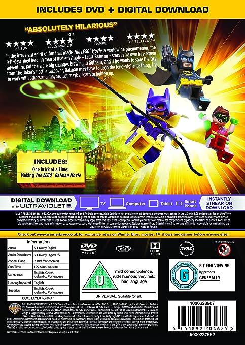 The LEGO Batman Movie DVD + Digital Download 2017: Amazon.co.uk ...