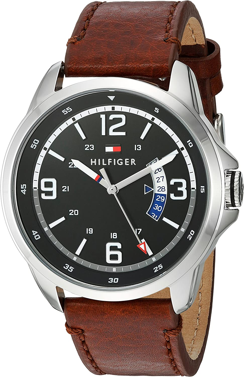 Tommy Hilfiger Men s Henry Stainless Steel Quartz Watch with Leather Calfskin Strap, Brown, 0.79 Model 1791321