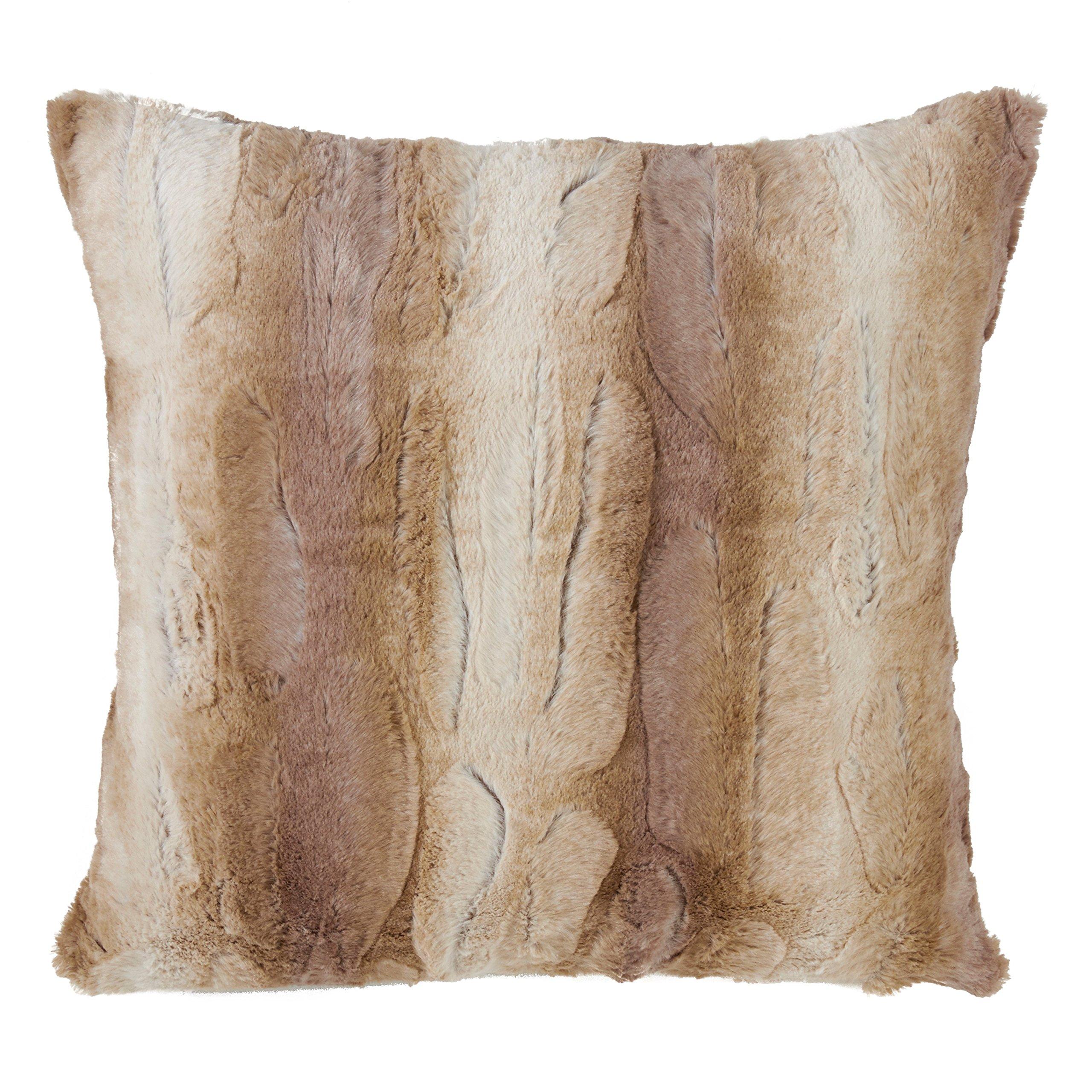SARO LIFESTYLE Wilma Collection Timeless Animal Print Faux Fur Poly Filled Throw Pillow, 20'', Natural