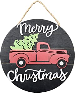 Clovers Garden Merry Christmas Sign Vintage Red Truck Wooden Farmhouse Hanging Wall or Door Décor - Rustic Country Black Holiday Sign Decoration for Home or Office