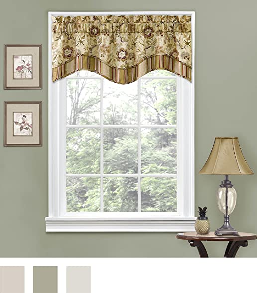 Traditions By Waverly 14312052016ANT Navarra Floral 52 Inch 16 Window Valance