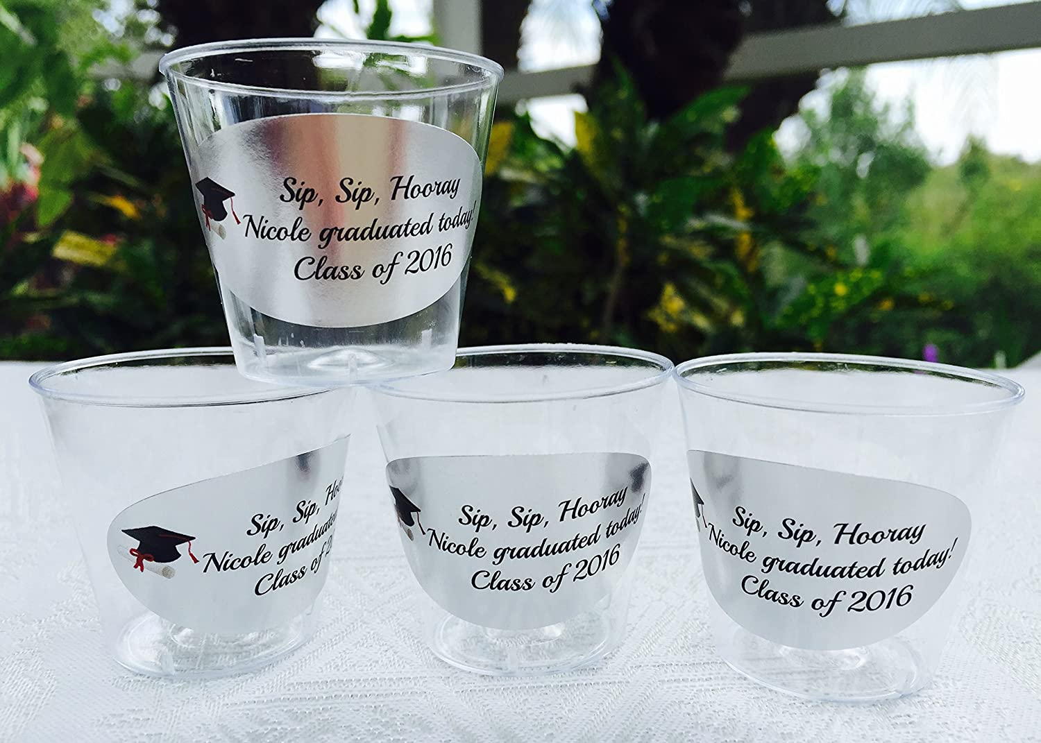 50 personalized 1oz plastic shot cups for bar at wedding or any party event silver foil decoration disposable cups makes great party favors or supply