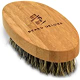 Beard Deluxe - Beard Brush For Men - Natural Bamboo Handle & 100% Boar Bristles - Perfect For Facial & Scalp Hair Combing & Grooming - Gift Box & Cotton Pouch Included