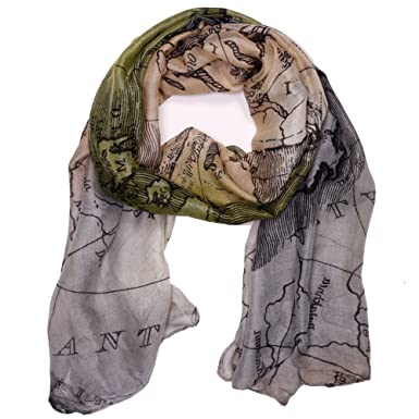 Bucasi global world map scarf in cream beige amazon clothing bucasi global world map scarf in cream beige gumiabroncs Gallery