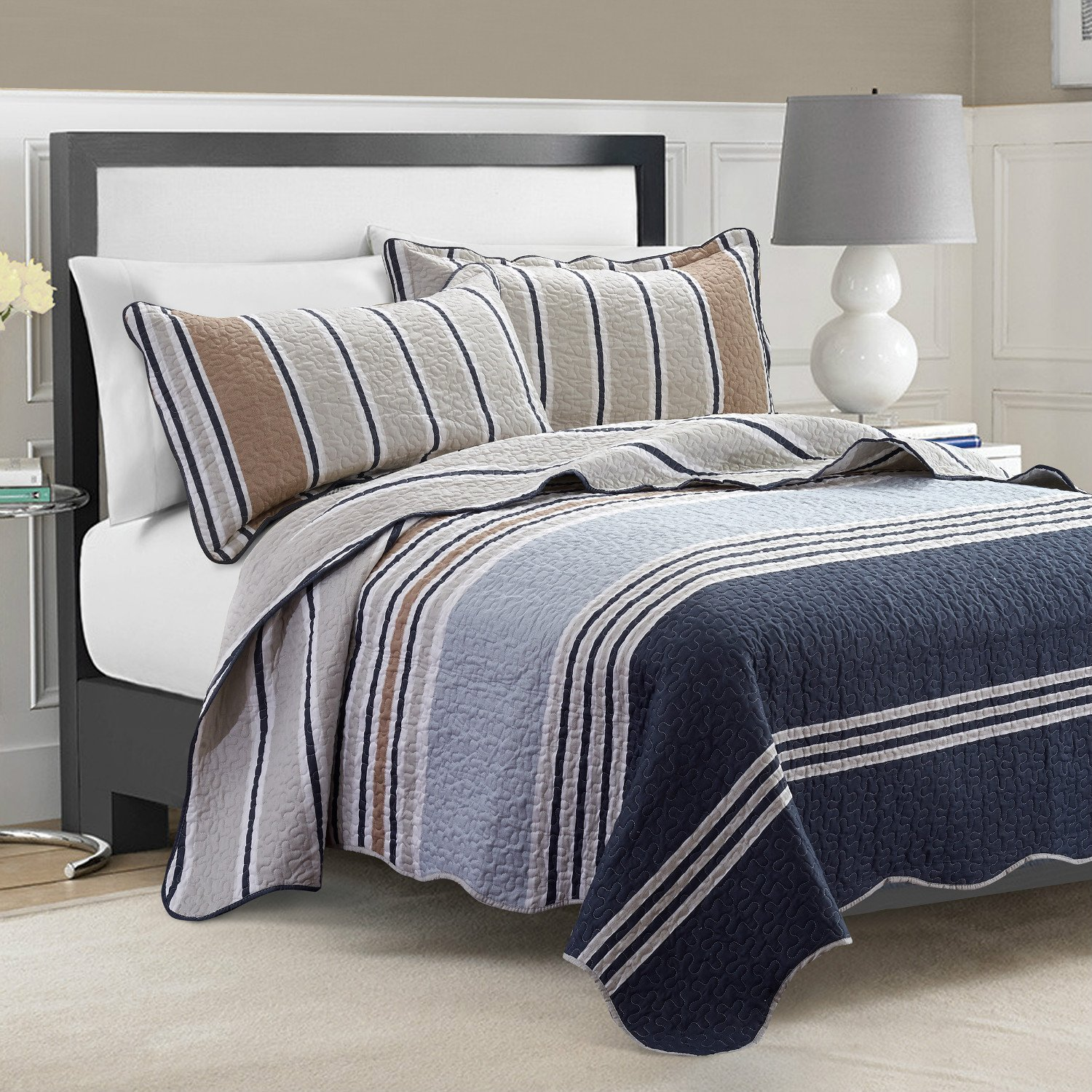 Navy Bedding and Navy Quilts – Ease Bedding with Style : beige quilt - Adamdwight.com