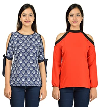 5e8cf26ce Timbre Women s Stylish Blue Red Cold Shoulder Tops Combo Pack of 2 ...