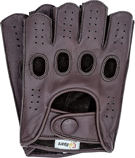 Riparo Women Genuine Leather Reverse Stitched Half-Finger Fingerless Driving Motorcycle Gloves