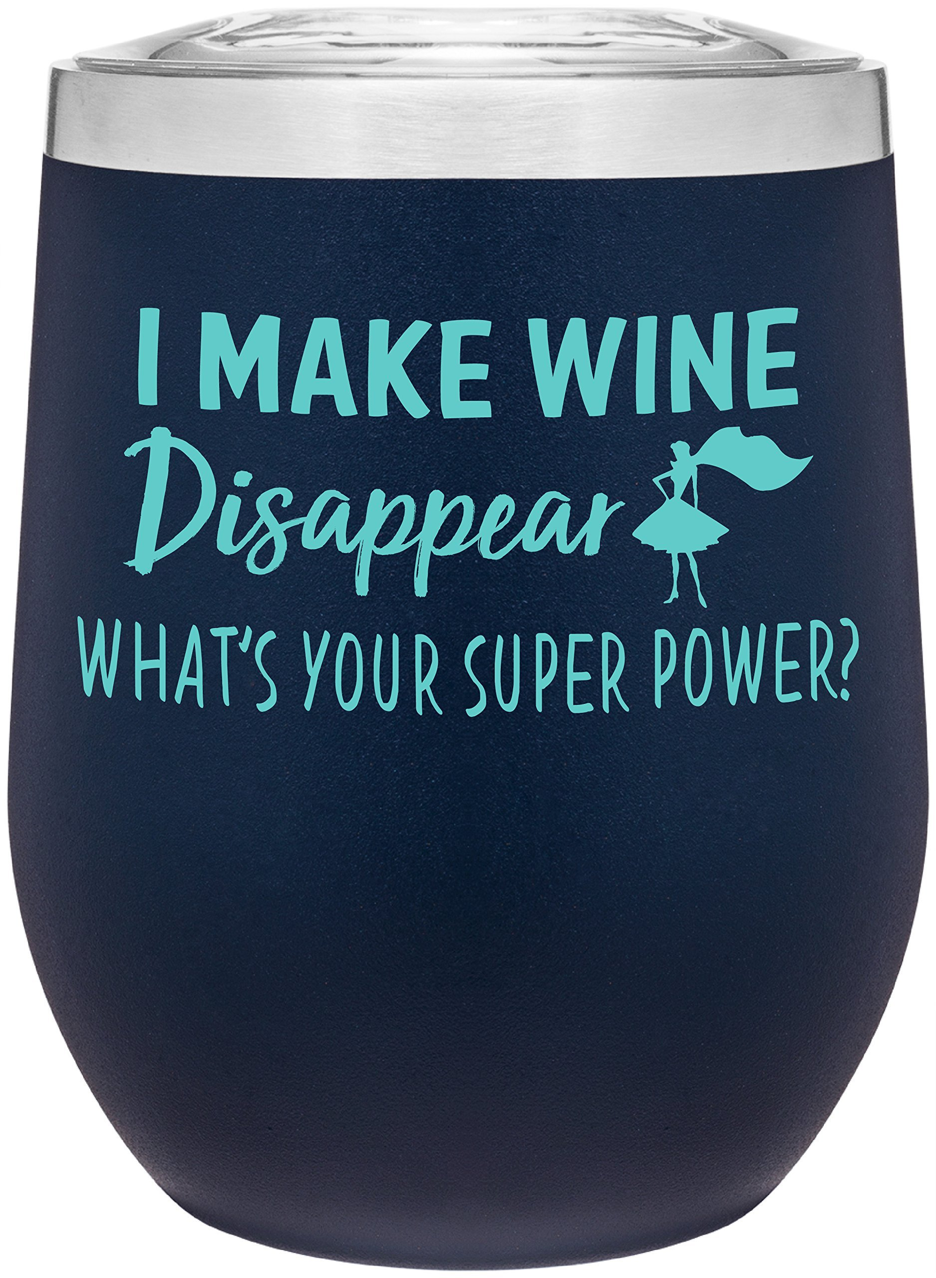 Stainless Steel 12 oz Wine Glass Tumbler with Lid | Double Wall Vacuum Insulated | Powder Coated | Unique Gift Idea for Women | Customized With Funny Sayings (Matte Blue)