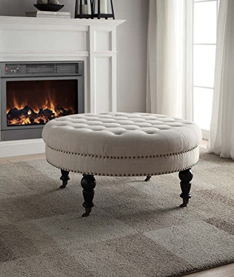 Pleasing Linon Isabelle Tufted Round Ottoman Gmtry Best Dining Table And Chair Ideas Images Gmtryco