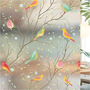 Window Film Privacy Non-Adhesive Bird Frosted Decorative Window Cling for Glass Anti UV Static Sticker Home Office Bathroom Kids Study Room Decor (35.4x70.8 Inches)