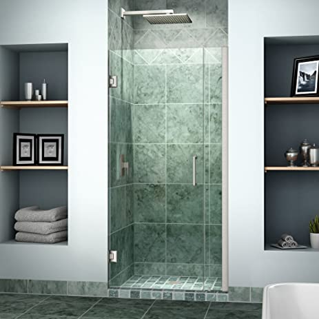 DreamLine Unidoor 33-34 in. Width Frameless Hinged Shower Door 3/ & DreamLine Unidoor 33-34 in. Width Frameless Hinged Shower Door 3 ...