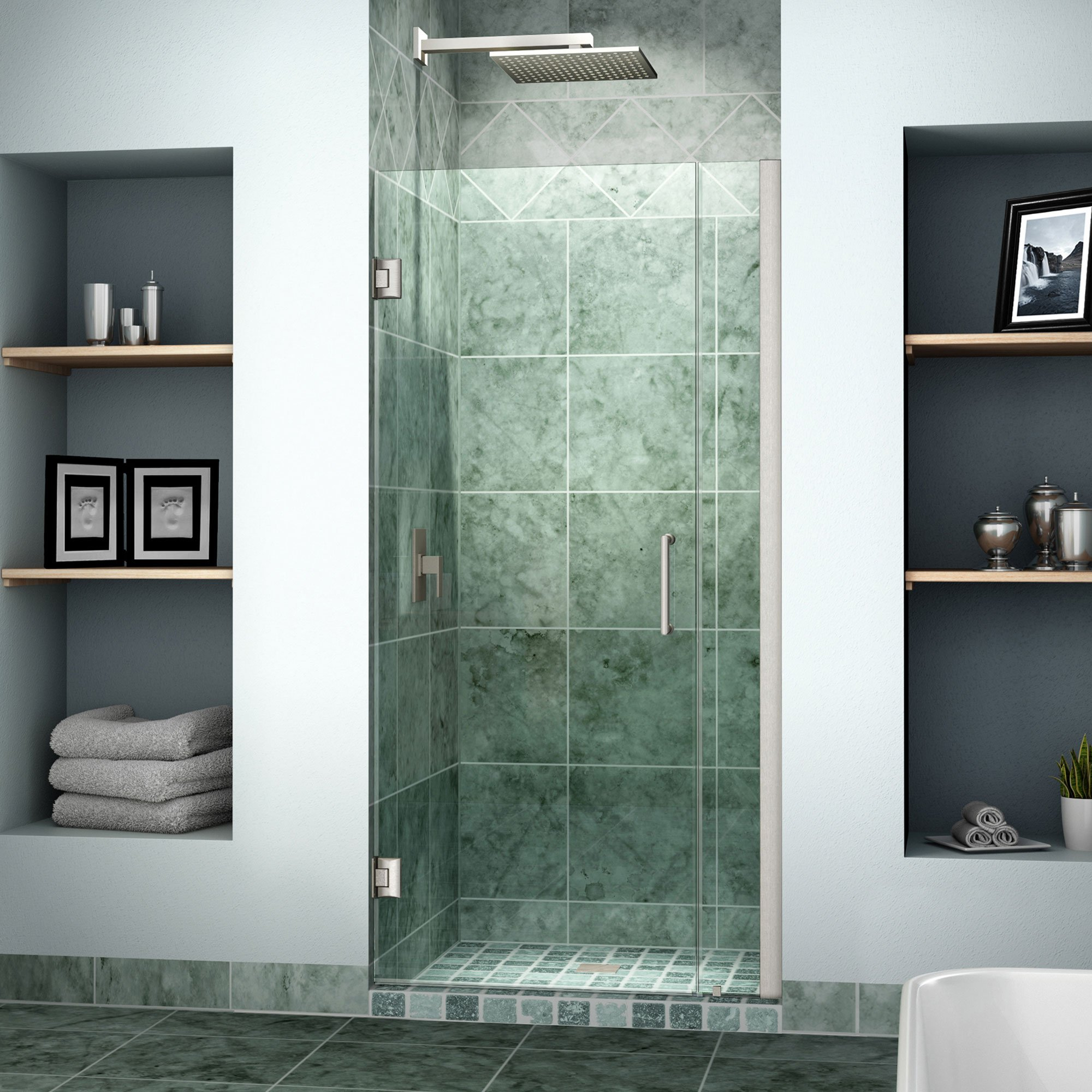 DreamLine Unidoor 33-34 in. Width, Frameless Hinged Shower Door, 3/8'' Glass, Brushed Nickel Finish by DreamLine