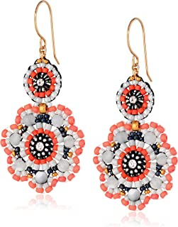 product image for Miguel Ases Mother-Of-Pearl and Coral Miyuki Flower Drop Earrings