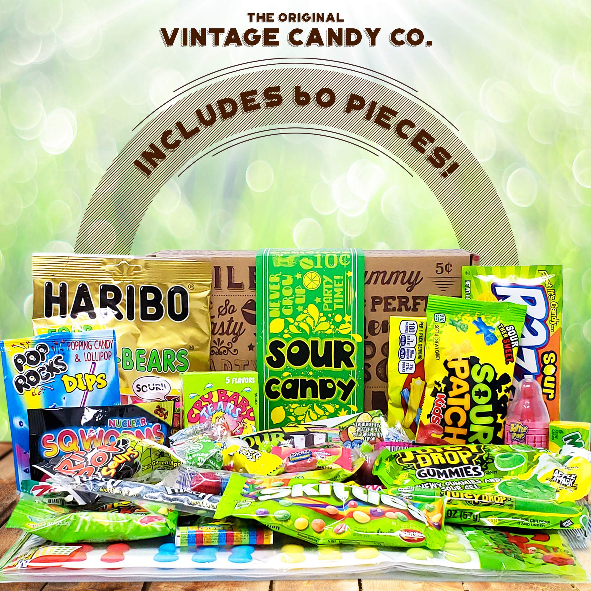 VINTAGE CANDY CO. SOUR CANDY ASSORTMENT GIFT BOX - Best Candy Variety Mix Care Package - Unique & Fun Gag Gift Basket - PERFECT For Man Or Woman Who LOVES SOUR Candy by Vintage Candy Co. (Image #2)