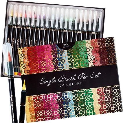 Estuche de lujo rotuladores punta de pincel - 20 colores premium, puntas reales y flexibles - Tinta a base de agua - ideal para artistas, estudiantes y calígrafos - MozArt Supplies: Amazon.es: Hogar