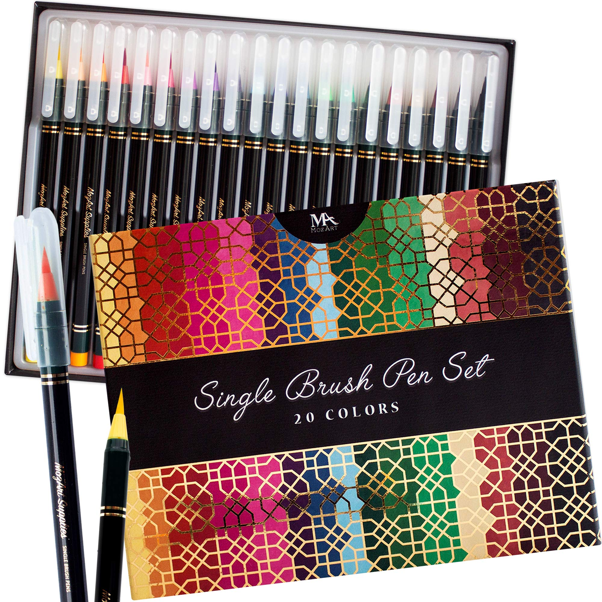 Luxury Single Brush Pen Gift Box - 20 Premium Colors, Soft, Flexible Real Brush Tips- Water Based Ink for Watercolor Effects - Ideal for artists, students and calligraphers - MozArt Supplies by MozArt Supplies