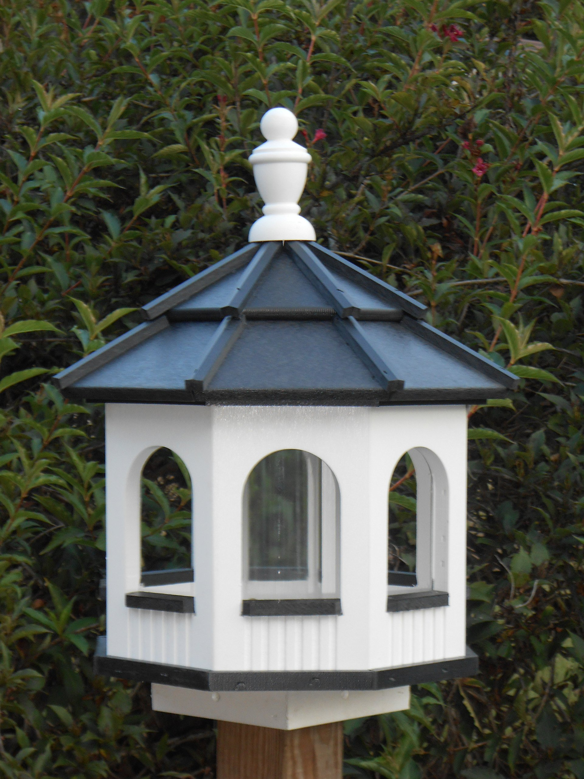 Vinyl Gazebo Bird Feeder Amish Homemade Handmade Handcrafted White & Black Medium