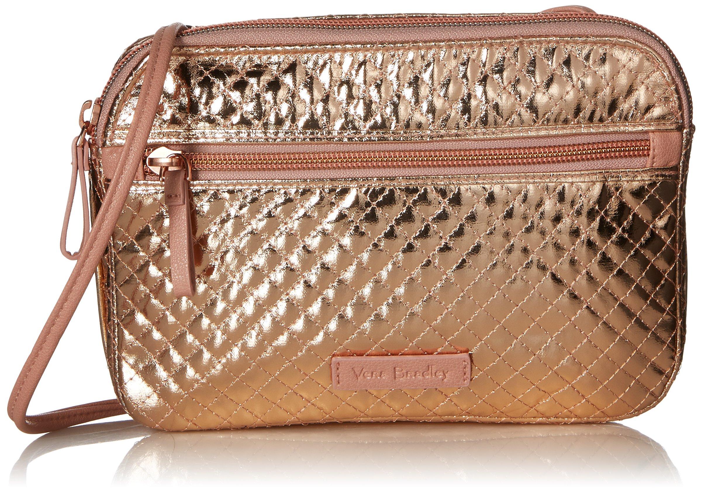 Vera Bradley Iconic Rfid Little Crossbody, Foiled Cotton, Rose Gold Shimmer