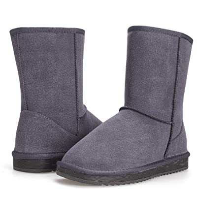 AL'OFA Women's Short Winter Warm Ankle Snow Boots Mid Calf Cozy Suede Leather