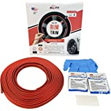 All-Fit Rim Trim Wheel Protection Strips for Curb Rash Prevention – Universal Fit (Red)
