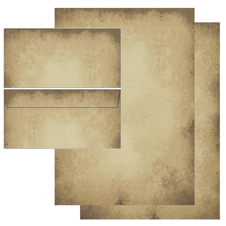 Carta di design antico Papier–Set–Cancelleria + Buste senza finestra 25 Blatt Briefpapier + 25 Kuverts Konzept-G 5605+6605