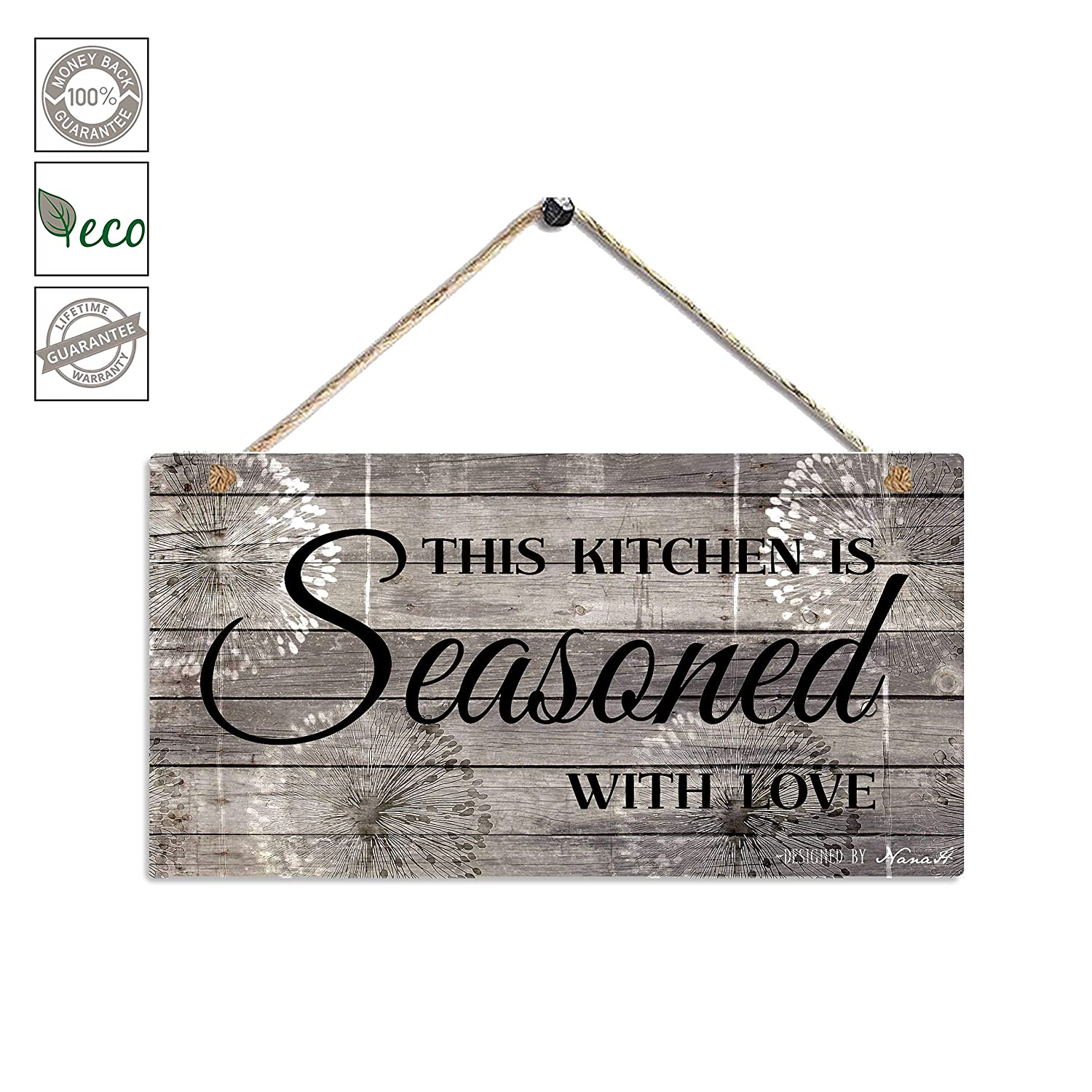 "Farmhouse Kitchen Decor, Rustic Kitchen Signs Wall Decor, Printed Wood Wall Art-This Kitchen is Seasoned with Love-Kitchen Wall Decor 11.5"" x 6"""