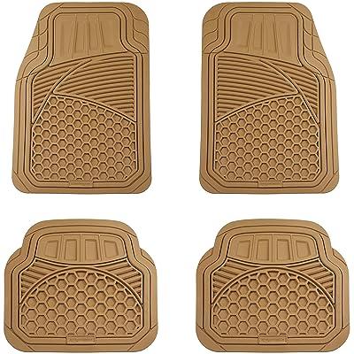 Basics 4 Piece Heavy Duty Rubber Car Floor Mat, Beige: Automotive