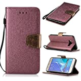 BONROY® Magnetic Flip Cover for Samsung Galaxy J5 (2016) J510F,Solid color silk pattern Wallet Case with Hand Strap for Samsung Galaxy J5 (2016) J510F, Premium PU Leather Folio Style Retro PU Leather Wallet Flip with Card Slots and and Stand Function Case Cover for Samsung Galaxy J5 (2016) J510F