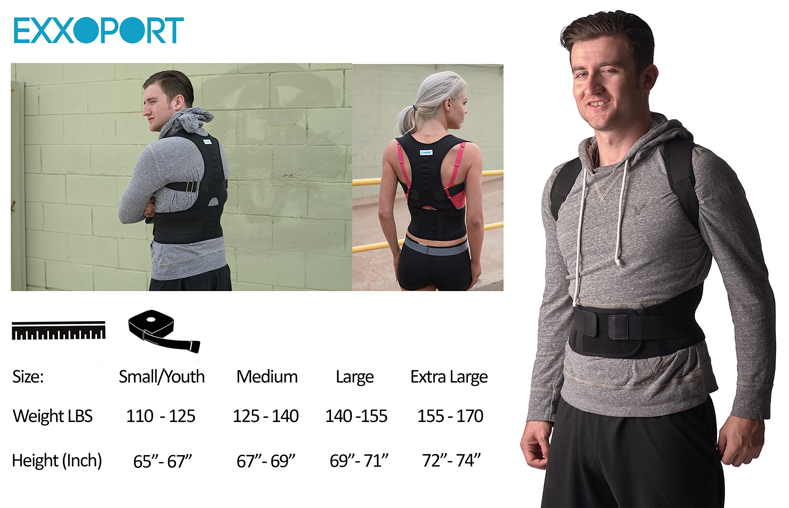 Back Brace Posture Corrector I for Youth, Men and Woman I Reduce Upper and Lower Back Pain I Stabilize Spine I Adjustable Straps (Medium (125-140lbs)) by EXXOPORT (Image #4)
