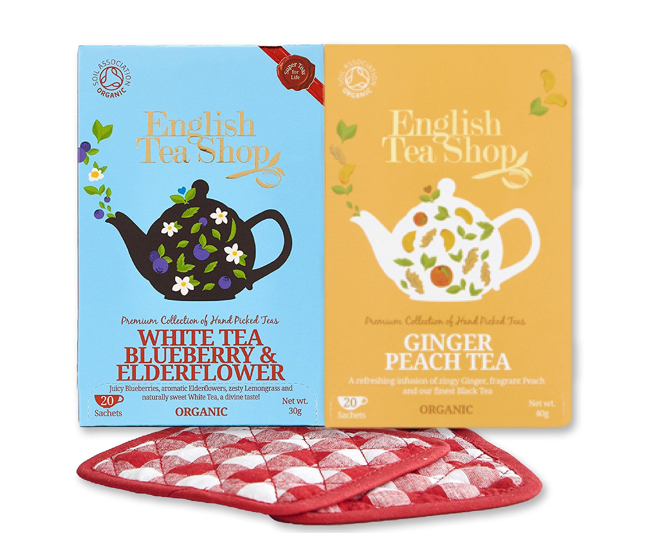 English Tea Shop Bundle White Tea Blueberry and Elderflower 20 Tea Bags Ginger Peach Tea Organic 20 Tea Bags with Set of Basically British Tea Coasters