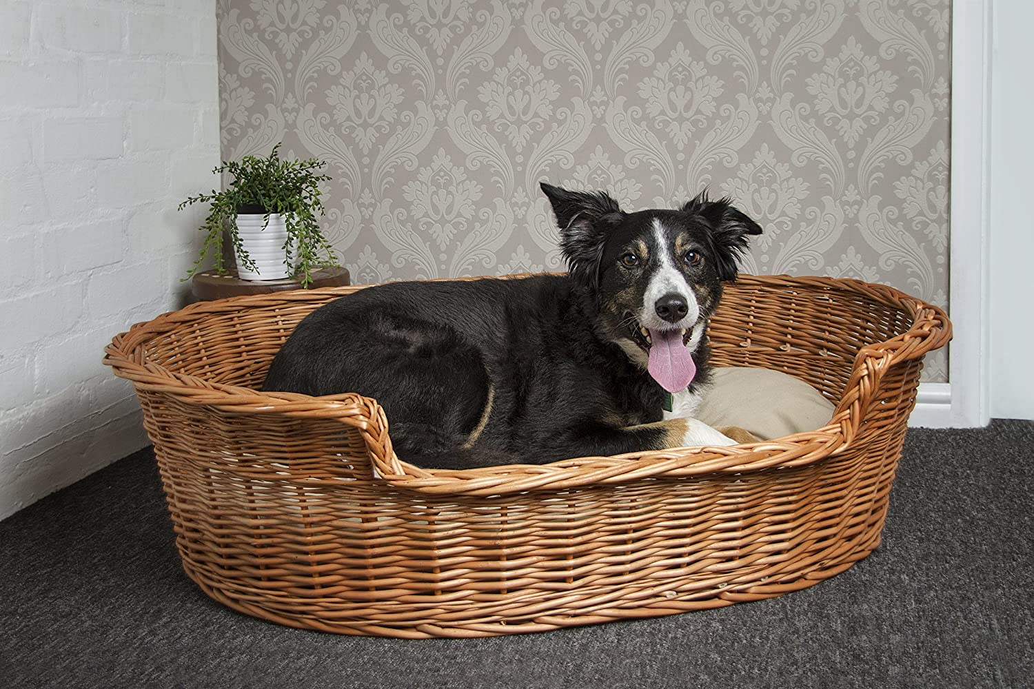 Prestige Wicker Dog Bed Basket, 85 cm, Large