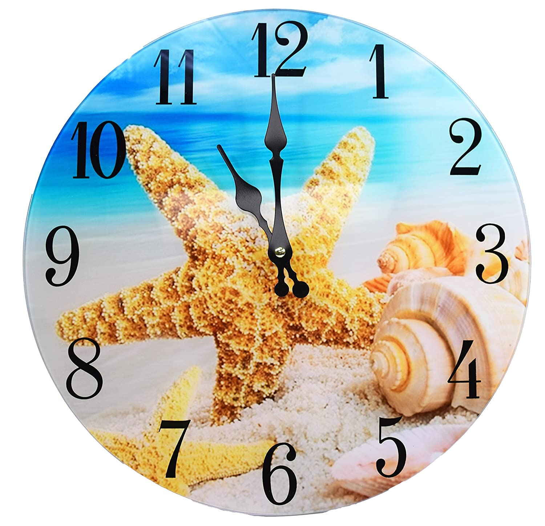 Shell Glass Wall Clock New 13X 13 Home Wall Decor Coastal Nautical Beach Sea Creations C1014