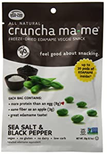 Crunch-a-Mame Edamame Snack - High In Protein & Fiber, Naturally Gluten Free - Sea Salt & Black Pepper - (Pack of 8 Single Serving Bags)