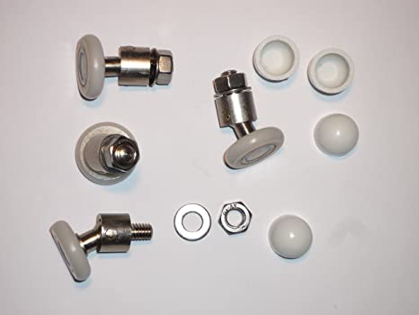 4 Nuevos reemplazos rodillos giratorios para puertas de ducha Ruedas de 20mm con junta universal