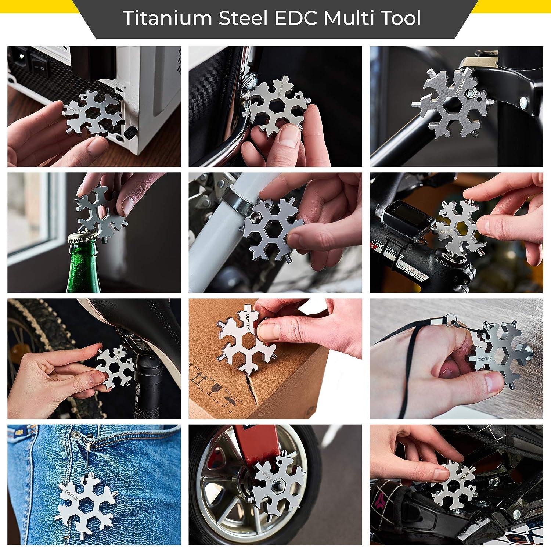 Gift Idea for Him EDC Multitool Keychain for Men Wrench Portable Multi-Tool Bottle Opener Obytek 19-in-1 Titanium Steel Snowflake Multi Tool Adventure Tool Combination Screwdriver