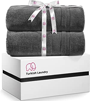 Turkish Laundry Luxury Large Bath Towels, Soft & Absorbent, 100% Organic Turkish Combed Cotton, 850 GSM, Gray